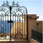 Butterfly Design Wrought Iron gate Side angle