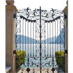 Floral Design Wrought Iron Gate Left