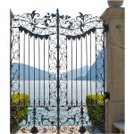 Floral Design Wrought Iron Gate Right