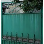 Large Green Wrought Iron Gate Closeup