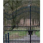Locked Wrought Iron Gate with Two Stone Column Left