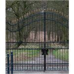 Locked Wrought Iron Gate with Two Stone Column Right