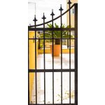 wrought iron gate. Closed entrance to private territory