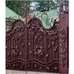 Wrought Iron Gate with lanterns Right